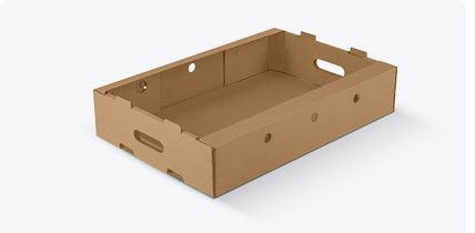 Corrugated tray for vegetables and fruit
